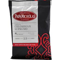 PapaNicholas Coffee Colombian Supremo Coffee - Regular - Arabica, Colombian Supremo - Light/Mild - 2.5 oz Per Carton - 18 Packet - 18 / Carton