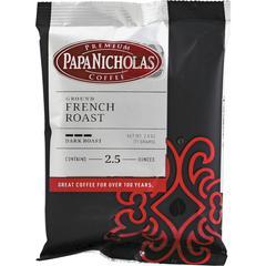 PapaNicholas Coffee French Roast Coffee Ground - Regular - Spicy, French Roast - Dark/Bold - 2.5 oz - 18 / Carton