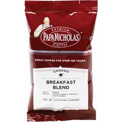 PapaNicholas Coffee Breakfast Blend Coffee - Regular - Arabica, Breakfast Blend - Medium - 2.5 oz Per Carton - 18 Packet - 18 / Carton