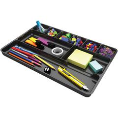 "deflecto Plastic Desk Drawer Organizer - 1"" Height x 14"" Width x 9"" Depth - Recycled - Black - 1Each"