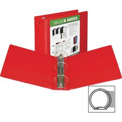 """Samsill Economy Round Ring View Binders - 4"""" Binder Capacity - Letter - 8 1/2"""" x 11"""" Sheet Size - Round Ring Fastener - Inside Front & Back Pocket(s) - Vinyl - Recycled - 1 Each"""