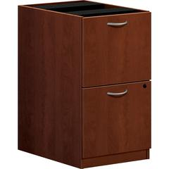 "basyx by HON BL Series Pedestal File - 15.6"" x 21.8"" x 27.8"" - 2 x File Drawer(s) - Square Edge - Finish: Medium Cherry"