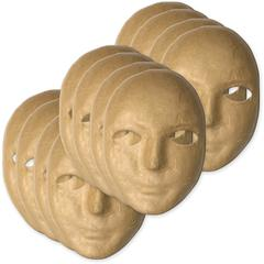 "ChenilleKraft Paper Mache Masks - Decoration - 8"" x 6"" x 3"" - 12 / Set - Natural - Paper"