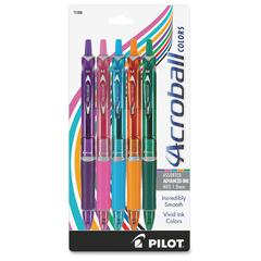 Pilot Acroball Colors Pens - Medium Point Type - 1 mm Point Size - Refillable - Purple, Pink, Turquoise, Orange, Green Advanced Ink Ink - Purple, Pink, Turquoise, Orange, Green Barrel - 5 / Pack