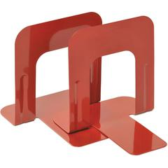 "MMF 5"" Economy Bookends - 5"" Height x 5.3"" Width x 4.7"" Depth - Recycled - Red - Steel - 2 / Pair"