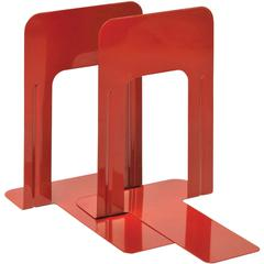 "MMF 9"" Deluxe Bookends - 9"" Height x 5.9"" Width x 8.2"" Depth - Recycled - Red - Steel - 2 / Pair"