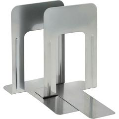 """9"""" Deluxe Bookends - 9"""" Height x 5.9"""" Width x 8.2"""" Depth - Recycled - Silver - Steel - 2 / Pair"""