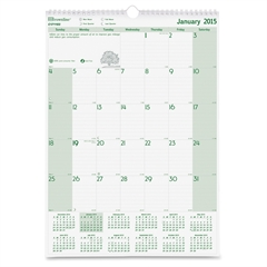 "Brownline Ecologix Monthly Wall Calendar - Julian - Monthly - January 2017 till December 2017 - 1 Month Single Page Layout - 12"" x 17"" - Twin Wire - Wall Mountable - White, Green - Chipboard - Moon Ph"