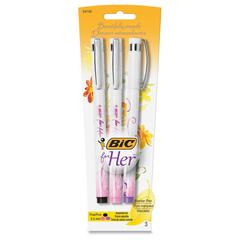 BIC for Her Floral Fashion Marker Pen - Fine Point Type - 0.5 mm Point Size - Refillable - Black, Pink, Purple - White, Pink Barrel - 3 / Pack