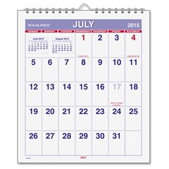 "Wirebound Monthly Mini Wall Calendar - Julian - Monthly - July 2015 till June 2016 - 1 Month Single Page Layout - 6.50"" x 7.50"" - Wire Bound - Wall Mountable - White - Hanging Loop"