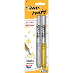 BIC Mark-it Fine Point Permanent Metallic Markers - Fine Point Type - Metallic Gold, Metallic Silver - 2 / Set