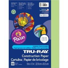 """Tru-Ray Heavyweight Construction Paper - 12"""" x 9"""" - 76 lb Basis Weight - 50 / Pack - Chartreuse - Sulphite"""
