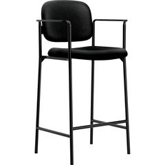 """Basyx by HON Cafe Height Stools - Polyester Black Seat - Polyester Black Back - Steel Black Frame - Four-legged Base - Black - 31.75"""" Seat Width x 31.75"""" Seat Depth - 21.5"""" Width x 23.3"""" Depth x 43.8"""""""