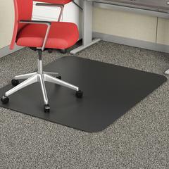 "Deflect-o Black Rectangular Smooth Edge Chairmats - Floor, Office, Carpeted Floor, Breakroom - 53"" Length x 45"" Width - Rectangle - Vinyl - Black"