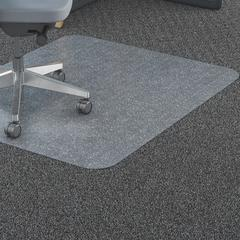 "Lorell Polycarbonate Chair Mat - Hard Floor, Carpeted Floor - 79"" Length x 60"" Width - Rectangle - Polycarbonate - Clear"