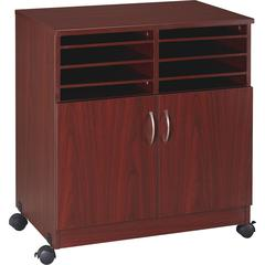 "Lorell 2-Door Mobile Machine Stand with Sorter - 30.8"" Height x 28"" Width x 19.3"" Depth - Mahogany - Laminated Particleboard - Mahogany"
