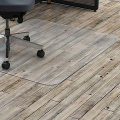 "Lorell Rectangular Chairmat without Lip - Hard Floor, Vinyl Floor, Tile Floor, Wood Floor - 48"" Length x 36"" Width - Rectangle - Polycarbonate - Clear"