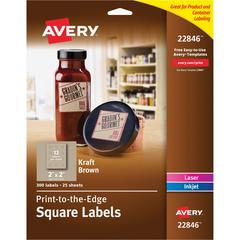 "Avery Kraft Brown Print-to-the-Edge Square Labels - Permanent Adhesive - 2"" Width x 2"" Length - Square - Inkjet, Laser - Kraft Brown - Wood - 12 / Sheet - 300 / Pack"