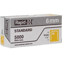 """Rapid R23 No.19 Fine Wire 1/4"""" Staples - 19/6 - 1/4"""" Leg - 1/2"""" Crown - for Fabric, Paper, Metal - Gray - 5000 / Box"""