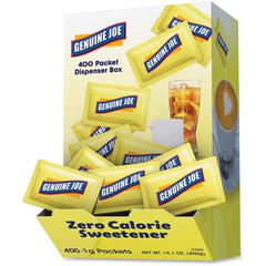 Genuine Joe Sucralose Zero Cal. Sweetener Packets - 0 lb (0 oz) - Artificial Sweetener - 400/Box