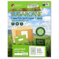 "MACO Laser / Ink Jet File / Copier Sugarcane File Folder Labels - Permanent Adhesive - 0.67"" Width x 3.44"" Length - 30 / Sheet - Rectangle - Laser, Inkjet - Assorted - 750 / Pack"