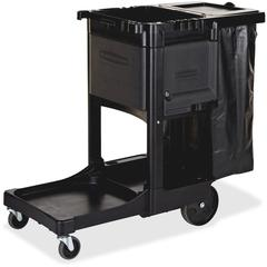 "Rubbermaid Commercial Executive Janitor Cleaning Cart - 3 Shelf - 8"", 4"" Caster Size - 21.8"" Width x 46"" Depth x 38"" Height - Black"
