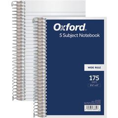 "TOPS 5 Subject Wirebound Notebook - 175 Sheets - Coilock - 15 lb Basis Weight - 6"" x 9 1/2"" - White Paper - Navy Cover - Acid-free, Unpunched, Divider - 1Each"
