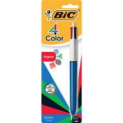 BIC 4-Color Retractable Pen - Fine, Medium Point Type - Refillable - Multi, Black, Red, Green - 1 Pack