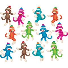 "Trend Trend Sock Monkeys Coll. Accents Labels - 36 (Monkey) Shape - Durable, Reusable - 6"" Height - Teal, Magenta, Green, Blue, Orange, Brown - 36 / Set"