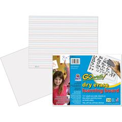 """GoWrite!® Dry Erase Learning Board - Dry-erase, Two-Sided, 3/4"""" Rule/Plain - 11"""" Width x 8.25"""" Height - White Surface - Rectangle - No - 30 / Pack"""