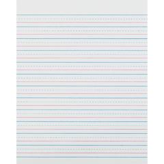 "Zaner-Bloser Pacon Broken Midline Sulphite Paper - 500 Sheets - 0.50"" Front Line(s) Space - 8"" x 10.50"" - White Paper - 500 / Pack"