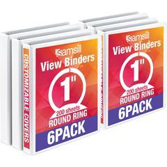 "Samsill 1"" Value View Binders - 1"" Binder Capacity - Round Ring Fastener - White - Recycled - 6 / Carton"