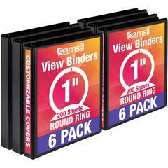 "Samsill 1"" Value View Binders - 1"" Binder Capacity - 225 Sheet Capacity - 3 x Ring Fastener(s) - Recycled - 6 / Carton"