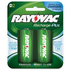 Rayovac Recharge Plus D Batteries - D - Nickel Metal Hydride (NiMH) - 1.2 V DC - 2 / Card