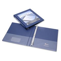"""SKILCRAFT Frame View Binders - Navy Blue, 1/2"""" - 1/2"""" Binder Capacity - Letter - 8 1/2"""" x 11"""" Sheet Size - 3 x D-Ring Fastener(s) - Internal Pocket(s) - Navy Blue - Recycled - 1 Each"""