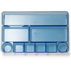"OIC Blue Glacier 9-Compartment Drawer Tray - 9 Compartment(s) - 1.1"" Height x 14"" Width x 9"" Depth - Drawer, Desktop - Transparent Blue - 1Each"