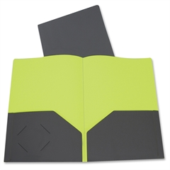 """C-Line Two-Tone Two-Pocket Poly Portfolios - Letter - 8.50"""" Width x 11"""" Length Sheet Size - 2 Pockets - Poly - Gray, Green - 1 Each"""""""