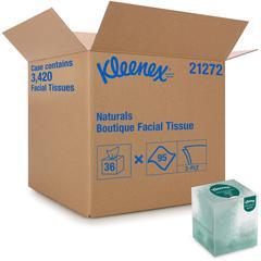 """Kleenex Naturals Facial Tissue - 8"""" x 8.40"""" - White - Virgin Fiber, Fiber - Soft - For Restroom - 95 Sheets Per Box - 36 / Carton"""
