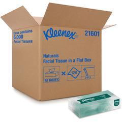 """Kleenex Naturals Facial Tissue - 8"""" x 8.40"""" - White - Virgin Fiber, Fiber - Soft - 125 Sheets Per Box - 48 / Carton"""