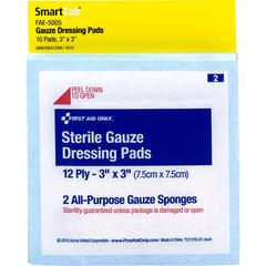 """First Aid Only Sterile Gauze Dressing Pads - 12 Ply - 3"""" x 3"""" - 1/Pack - White"""