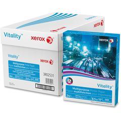 "Xerox Vitality Multipurpose Printer Paper - Letter - 8.50"" x 11"" - 24 lb Basis Weight - 92 Brightness - 5000 / Carton - White"