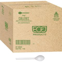 "Eco-Products 7"" Plant Starch Spoons - 1000/Carton - 1000 x Spoon - Plant Starch - Natural White"