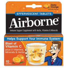 Airborne Flavored Effervescence Tablets - Zesty Orange - 10 / Box