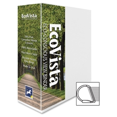 """Aurora EcoVista D-ring View Binders - 3"""" Binder Capacity - Letter - 8.50"""" x 11"""" Sheet Size - 3 x D-Ring Fastener(s) - Inside Front & Back Pocket(s) - Paperboard, Polypropylene - White - Recycled - 1 E"""
