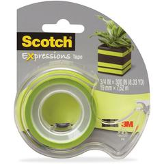 "Scotch Expressions Matte Finish Magic Tape - 0.75"" Width x 25 ft Length - 1"" Core - Removable, Repositionable, Writable Surface - Dispenser Included - Handheld Dispenser - 1 / Roll - Matte Light Green"
