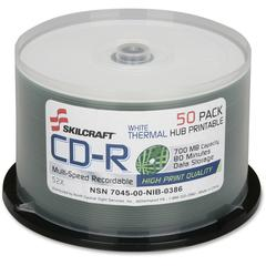 SKILCRAFT CD Recordable Media - CD-R - 52x - 700 MB - 50 Pack Spindle - 120mm - Printable - Thermal Printable - 1.33 Hour Maximum Recording Time