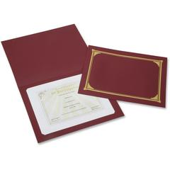 "SKILCRAFT Linen Gold Foil Certificate Holder - A4 - 8 17/64"" x 11 11/16"", 8 1/2"" x 11"", 8"" x 10"" Sheet Size - Linen - Burgundy - Recycled - 6 / Pack"