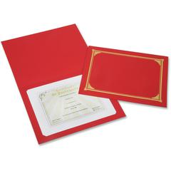 "SKILCRAFT Linen Gold Foil Certificate Holder - A4 - 8 17/64"" x 11 11/16"", 8 1/2"" x 11"", 8"" x 10"" Sheet Size - Linen - Red - Recycled - 6 / Pack"