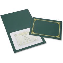 """SKILCRAFT Linen Gold Foil Certificate Holder - A4 - 8 17/64"""" x 11 11/16"""", 8 1/2"""" x 11"""", 8"""" x 10"""" Sheet Size - Linen - Green - Recycled - 6 / Pack"""