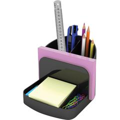 "Deflect-o Desk Caddy Organizer - 5"" Height x 5.4"" Width x 6.8"" Depth - Desktop, Shelf - Recycled - Black - Plastic - 1Each"